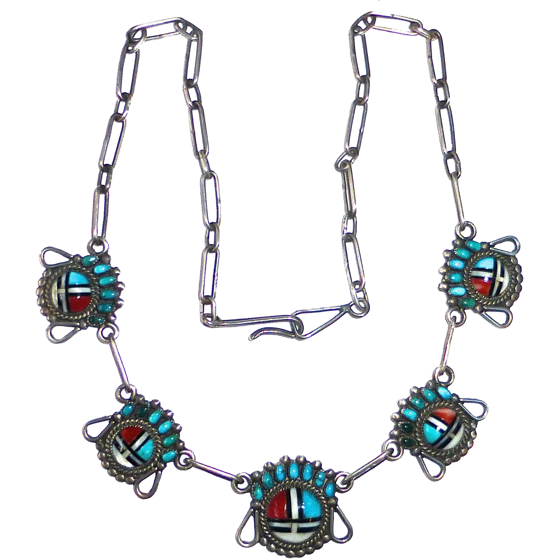 Native American Zuni Inlay Sterling Sun Face Pawn Necklace