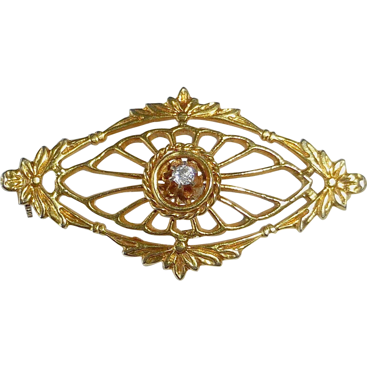 Antique 10k Yellow Gold Filigree Lace Pin w Mine Cut Diamond