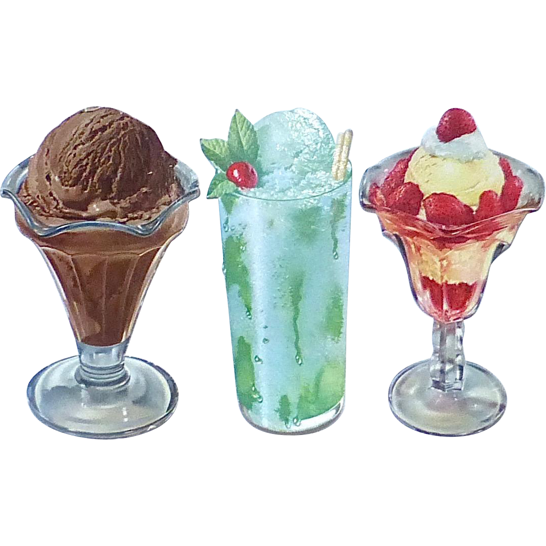 Set of 3 Ice Cream Shop Soda Fountain Color Store Display Cutouts