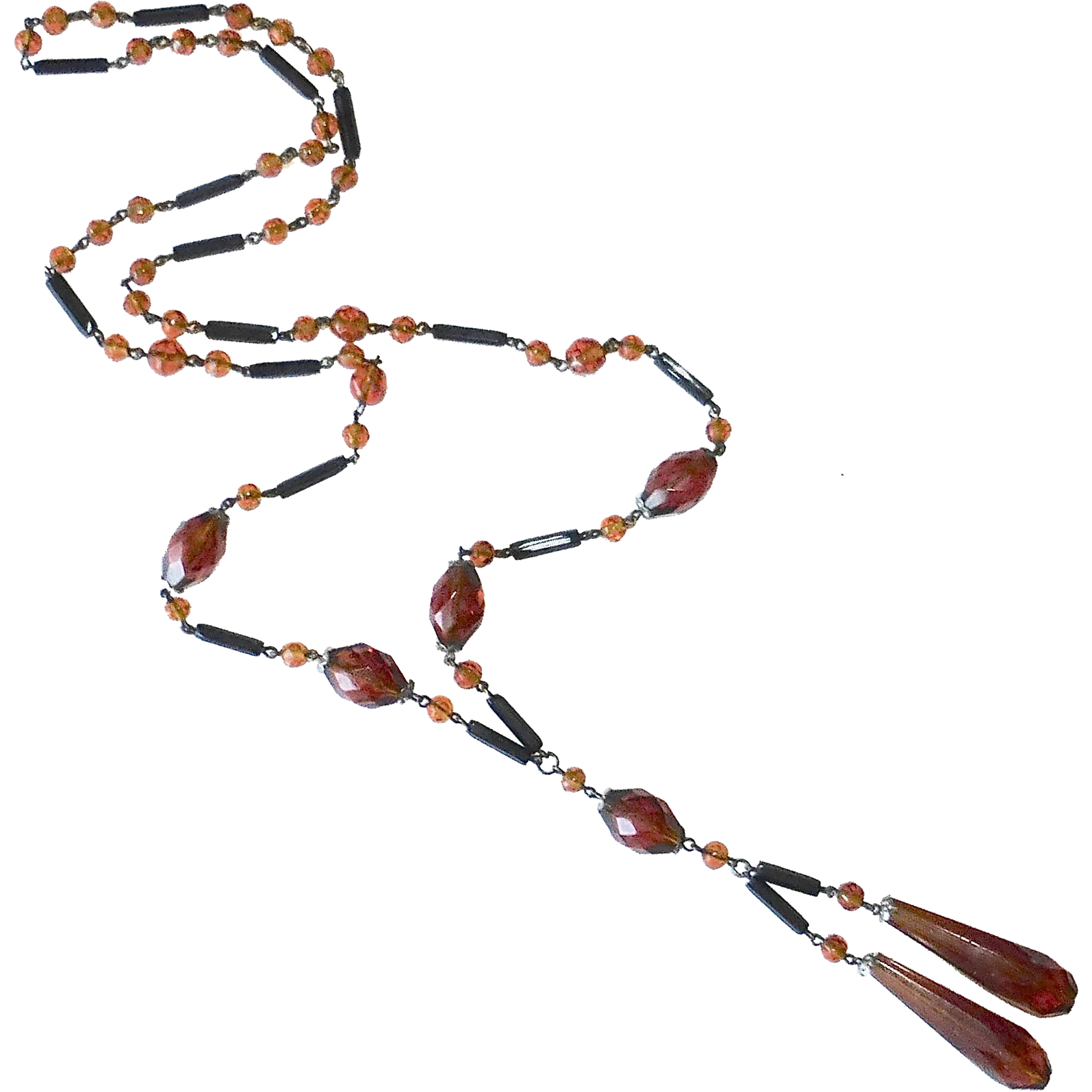 Art Deco Flapper Necklace Faceted Black & Amber Glass Beads