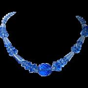 Art Deco Dutch Blue Glass Bead Necklace