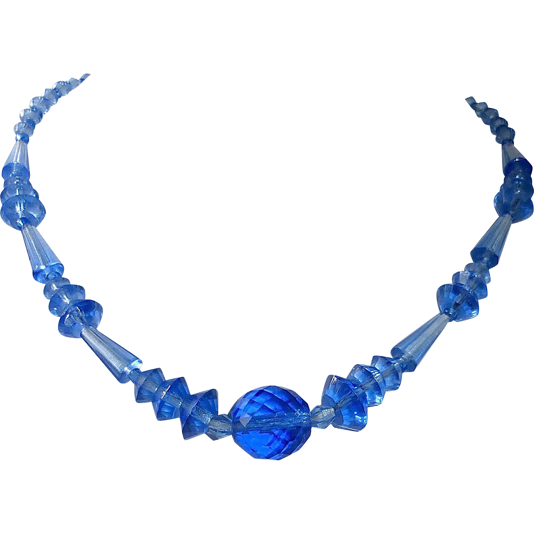 Art Deco Dutch Blue Glass Bead Necklace