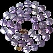 Lavender Genuine Amethyst Bead Necklace