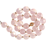 Fine Quality Large Rose Quartz Beads 14k Spacers