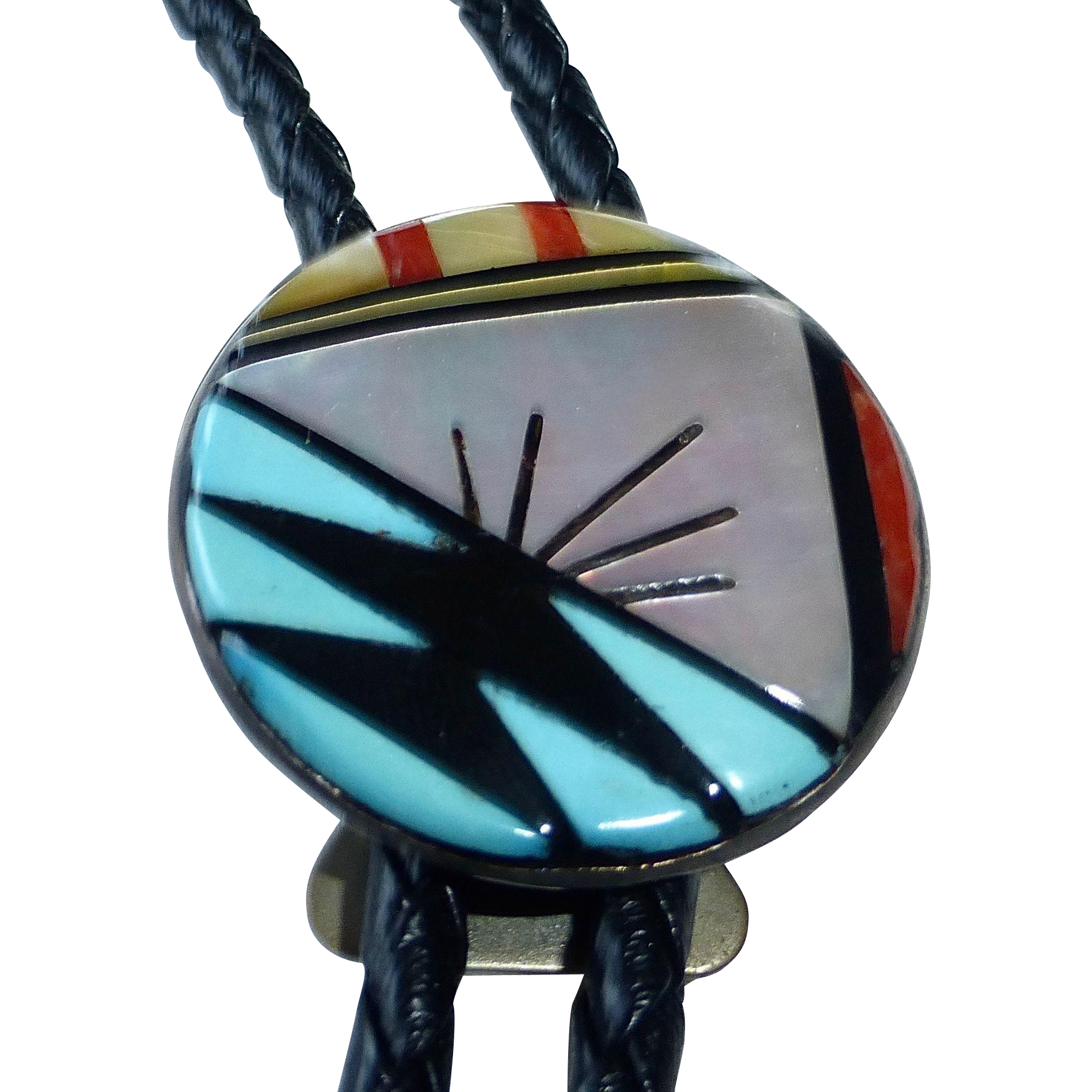 Native American Zuni Inlaid Signed Sterling Bolo Tie