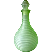 Frigidaire Satin Ribbed Green Depression Glass Water Bottle w Stopper