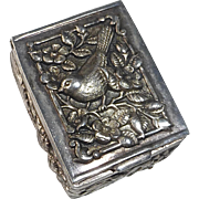 800 Silver Repousse Hinged Small Box