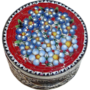 Italian Floral Mosaic Topped Round Pill Box