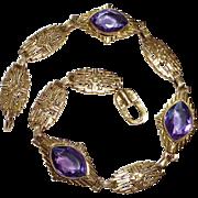Art Deco 14k Amethyst Embossed Link Bracelet