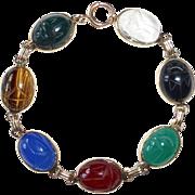 Egyptian Revival 14k Semi Precious Seven Stone Scarab Bracelet