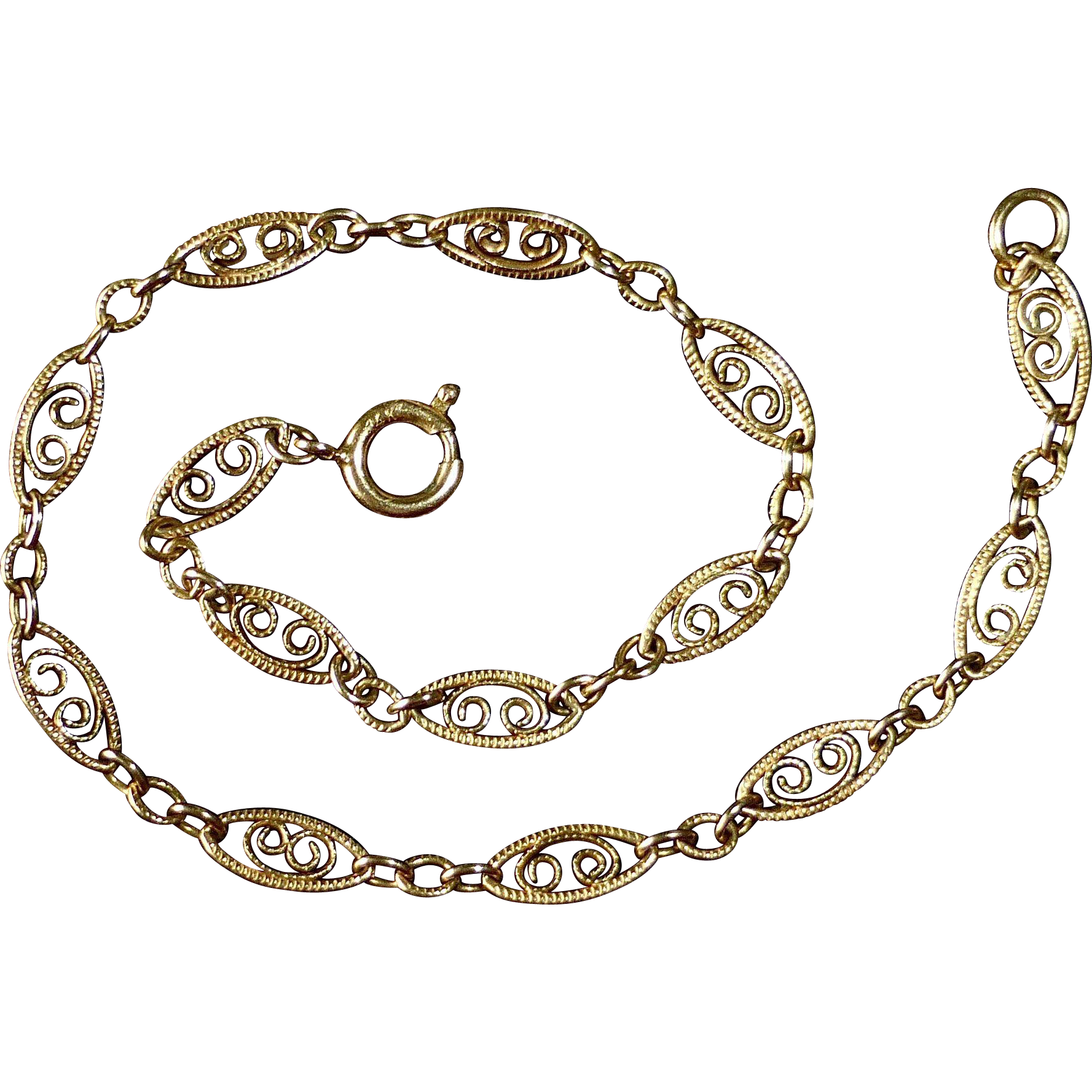 14k Yellow Gold Filigree Chain Bracelet