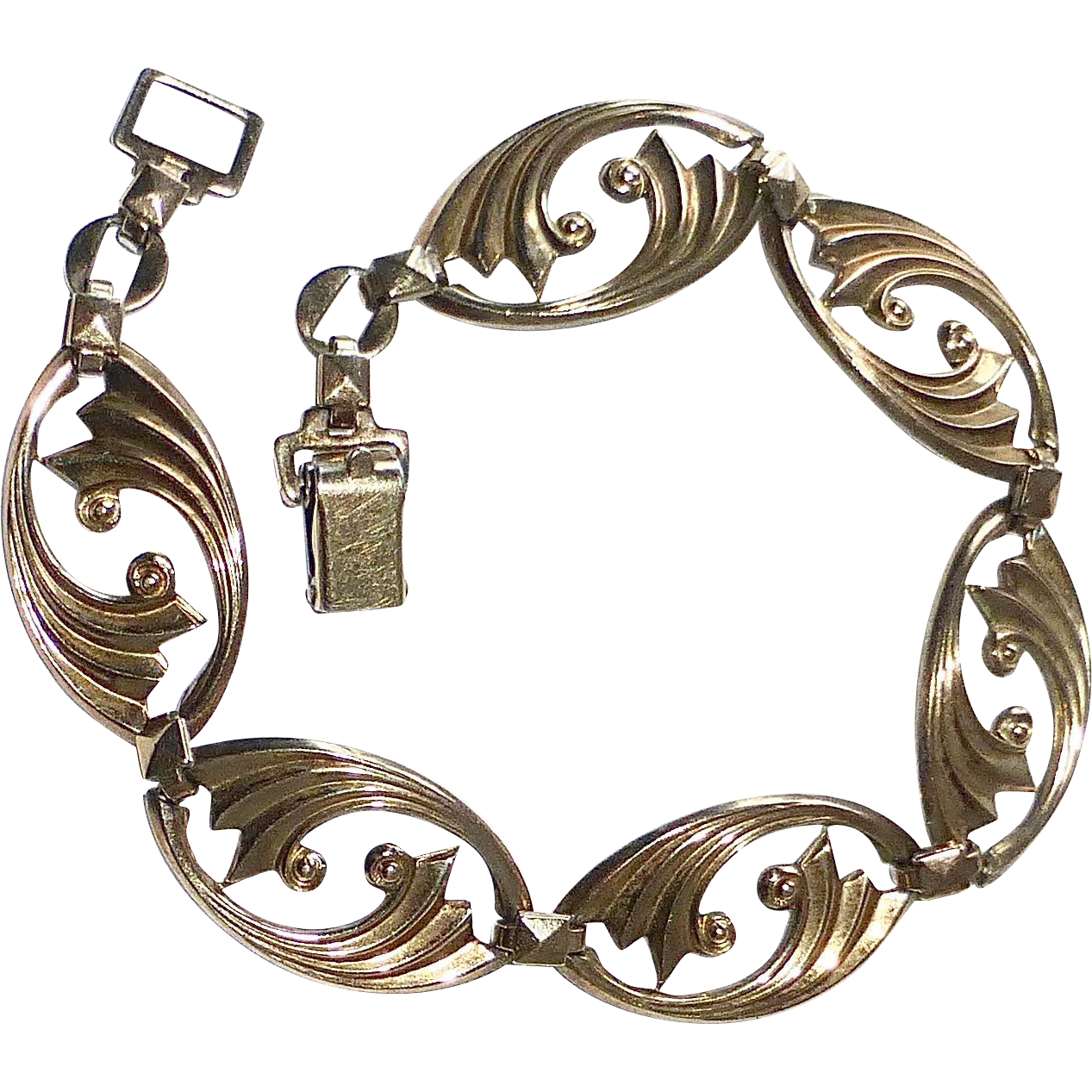 14k GF Over Sterling Art Deco Symmetalic Bracelet