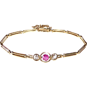 14k Antique Rose Gold Link Bracelet Paste Stones
