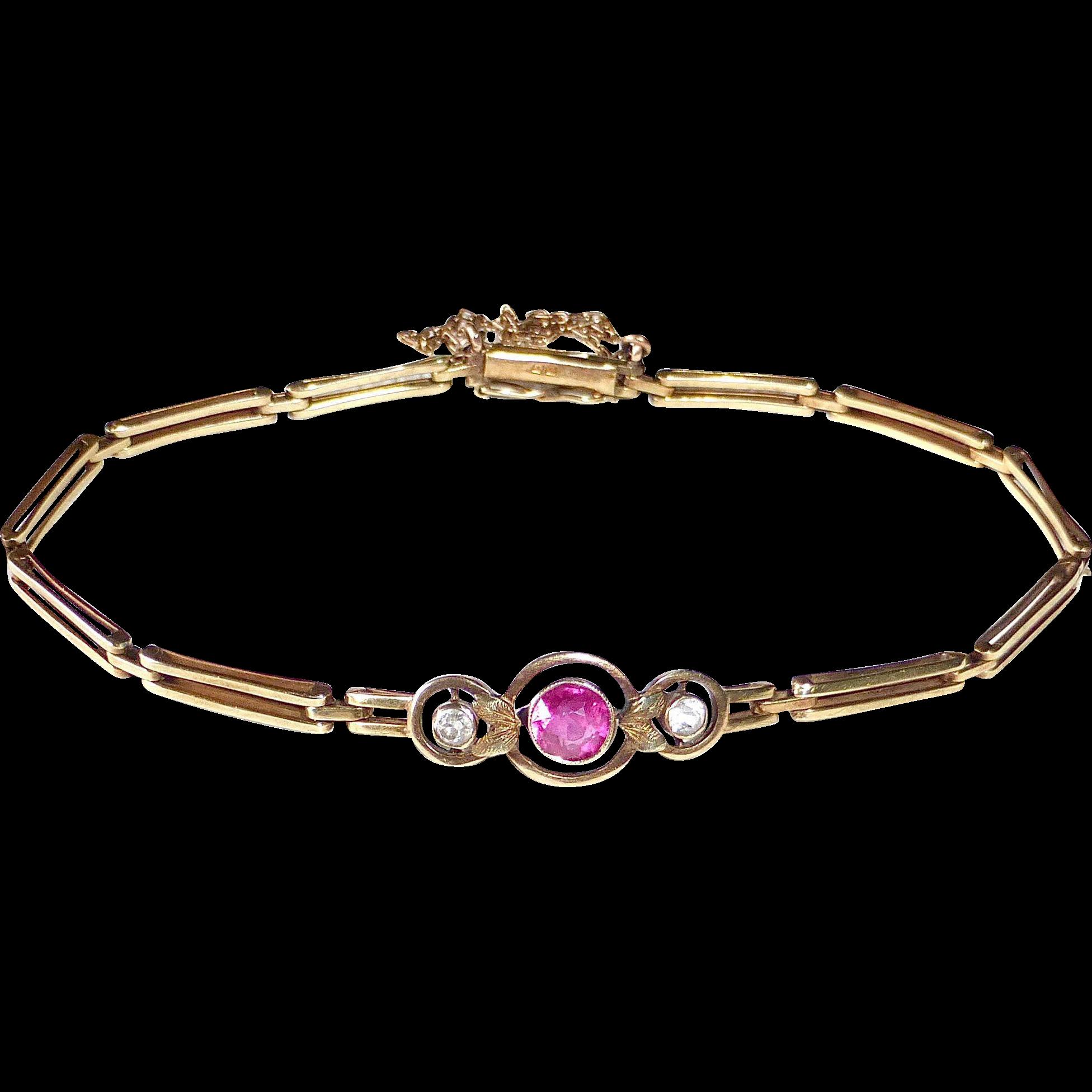 14k Antique Rose Gold Link Bracelet Paste Stones