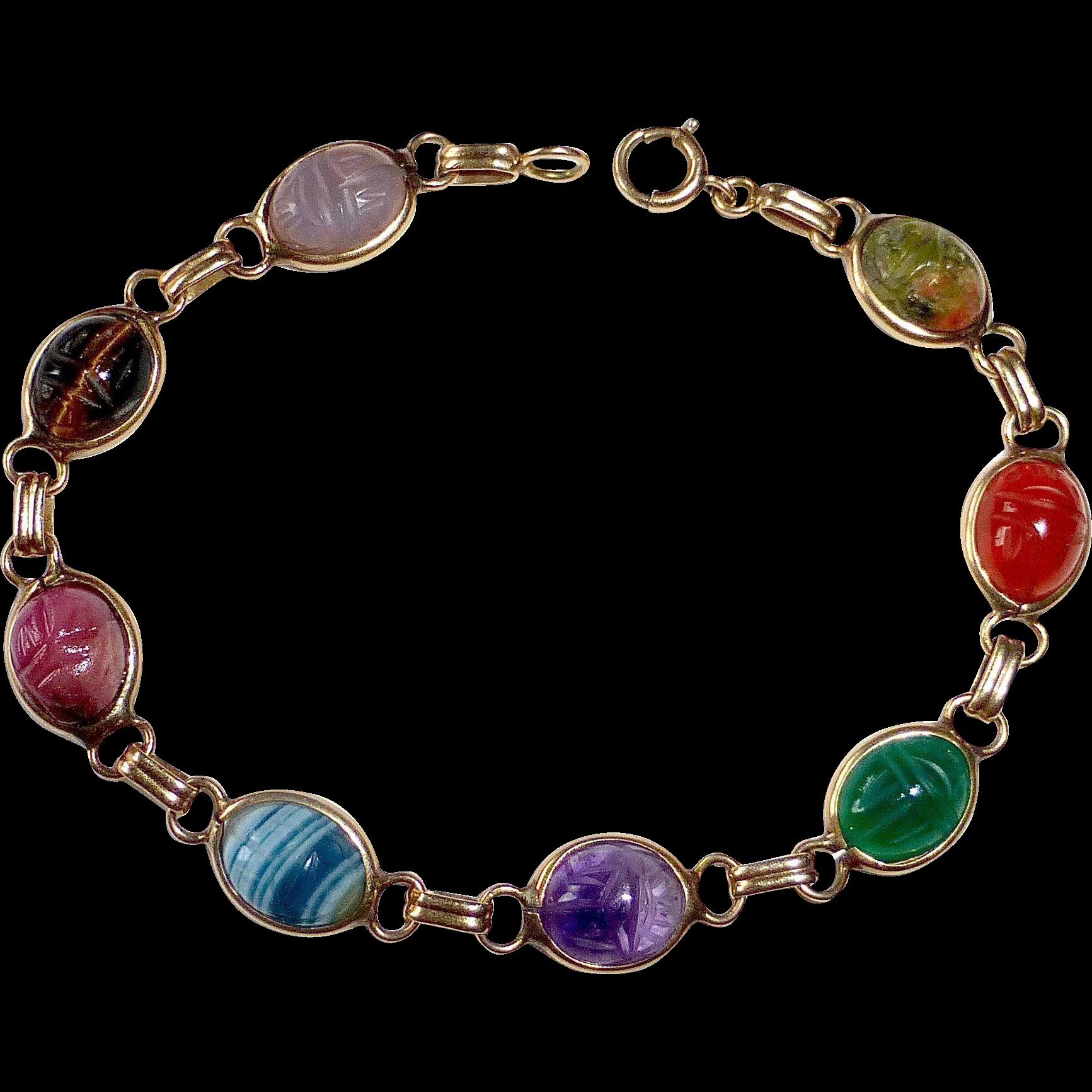 Egyptian Revival 14k Semi Precious Stone Scarab Bracelet