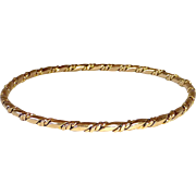14k Yellow Gold Double Twisted Wire Bangle Bracelet