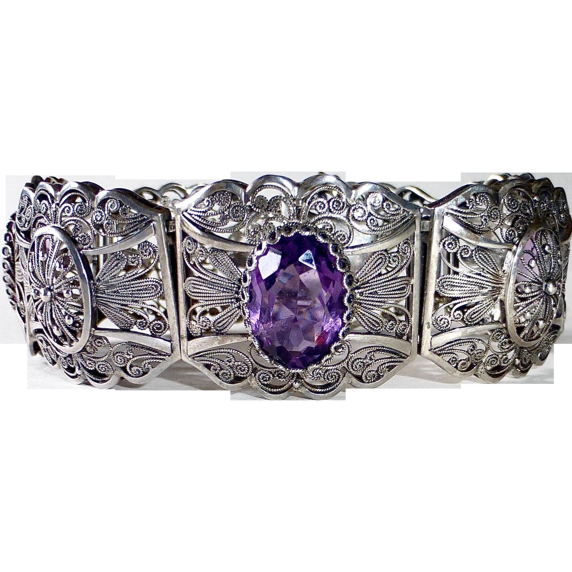Art Deco 835 Silver Filigree Bracelet w 3 Amethyst
