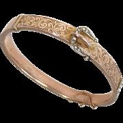Chester, England 9k Rose Gold Engraved Buckle Motif Bracelet 1911
