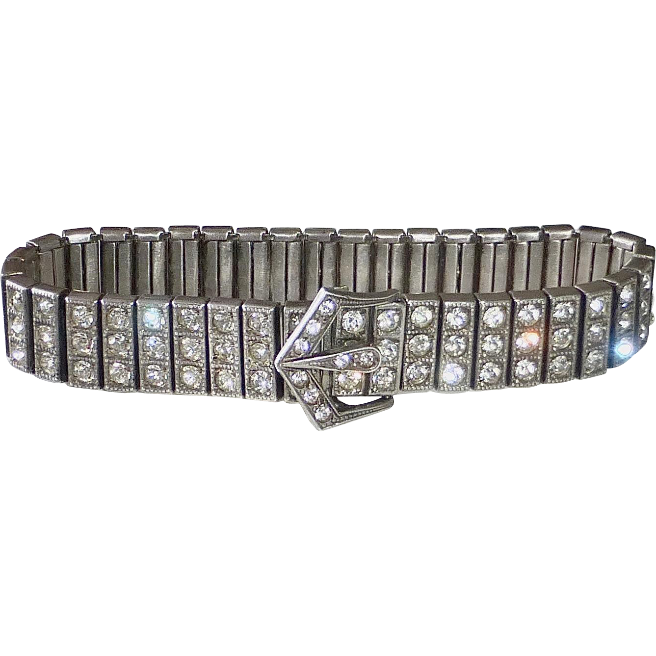 Art Deco Sterling & Paste Triple Row Buckle Bracelet c1920s