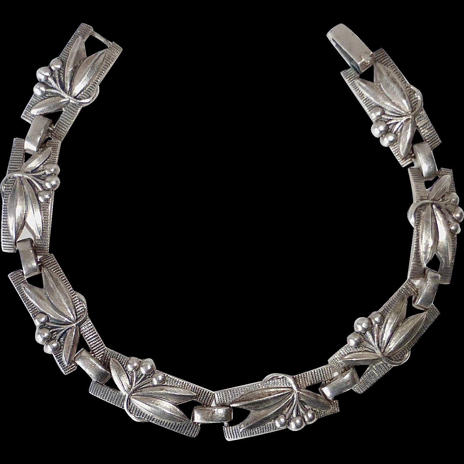Coro Silver Plated Bracelet Cherries & Leaves