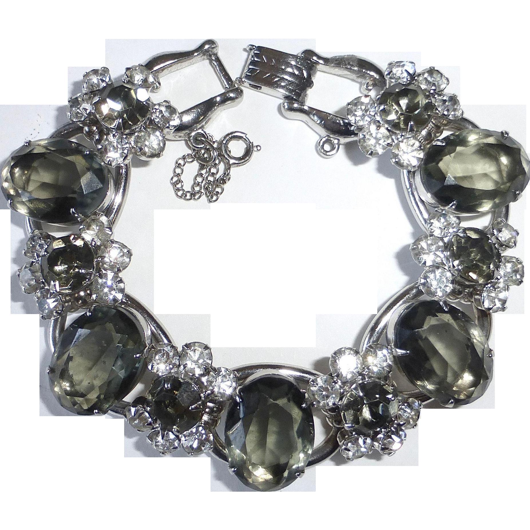 Juliana D&E Bracelet White & Gray Rhinestone