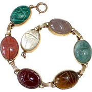 Egyptian Revival GF Semi Precious Stone Scarab Beetle Bracelet