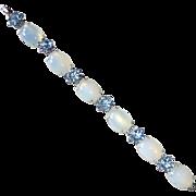Hattie Carnegy Glowing Faux Moonstone & Blue Rhinestone Bracelet
