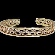 Krementz Gold Filled Filigree Cuff Bracelet