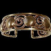 Krementz Yellow & Rose Gold Filled Cuff Bracelet Scallop Shells