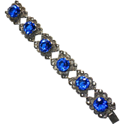 Mexican White Metal Bracelet with Large Blue Glass Jewels
