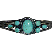 Native American Signed Navajo Sterling Cuff Bracelet 7 Turquoise