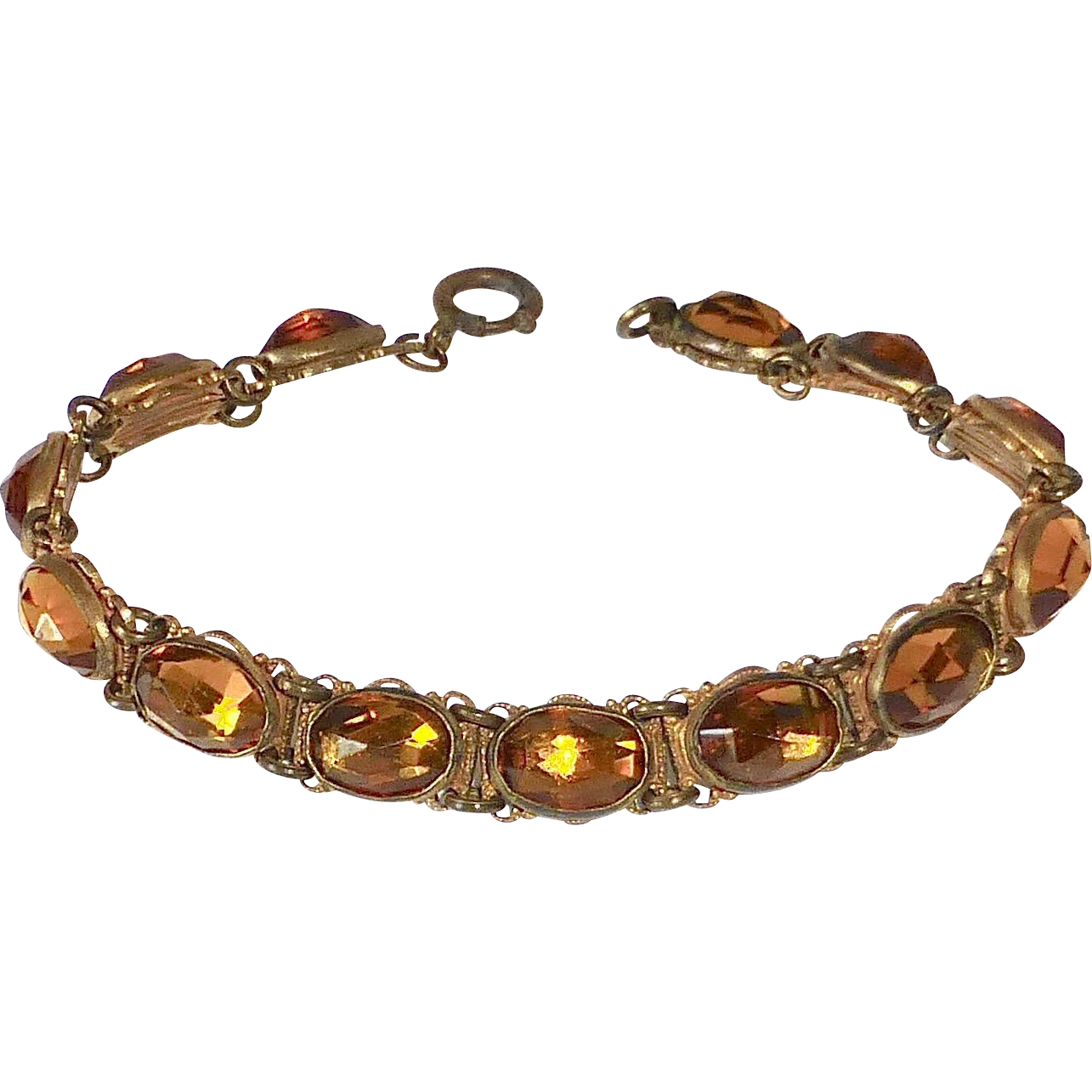 Art Deco Amber Vauxhall Glass Jewel Bracelet