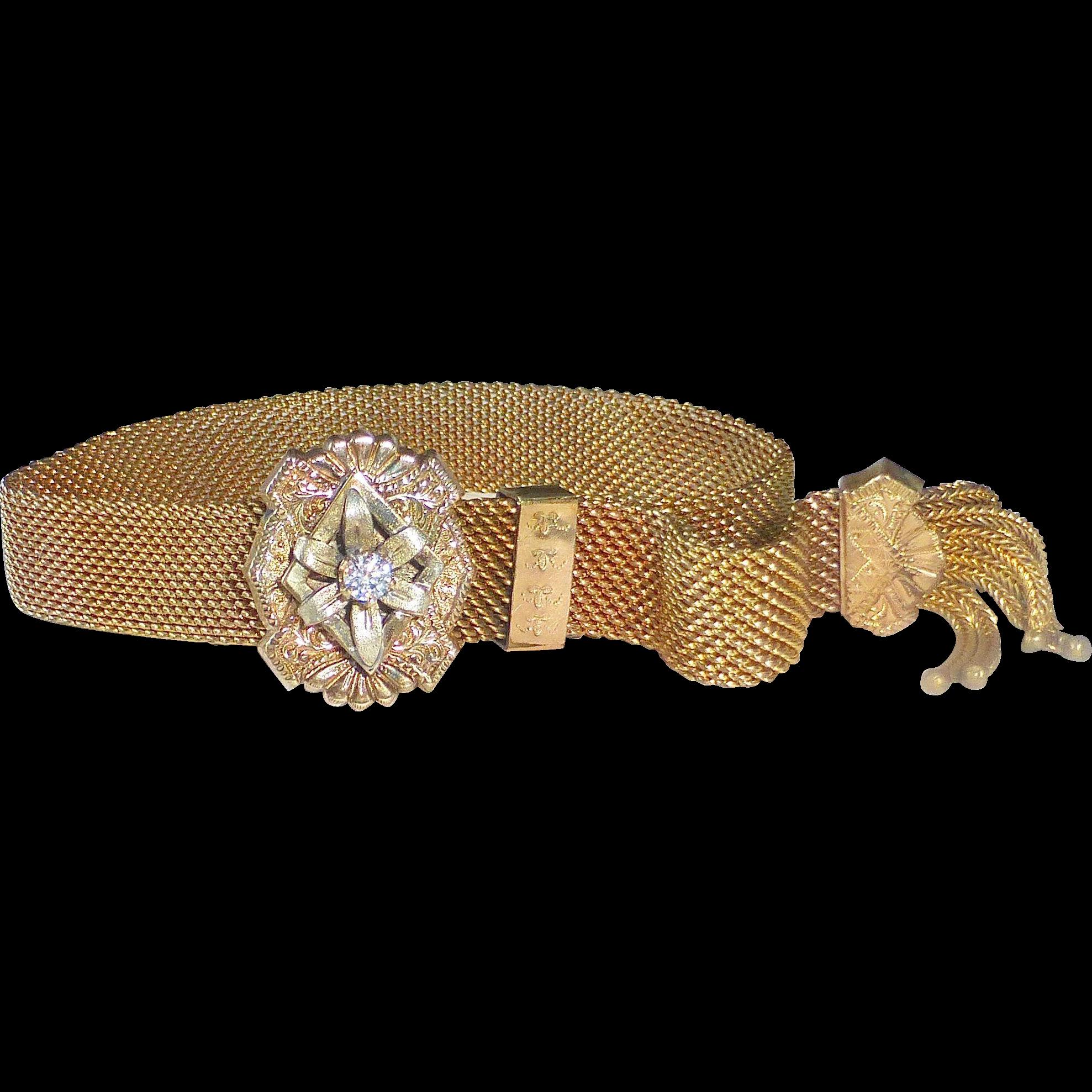 Victorian GF Mesh Slide Bracelet Paste Stone & Tassels