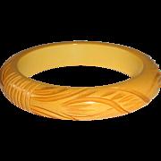 Art Deco Carved Butterscotch Bakelite Bangle Bracelet