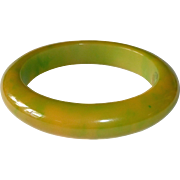Chunky End-of-the-Day Pea Green & Apricot Bakelite Bracelet