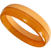 Laminated Bakelite Bangle Bracelet Creamed Corn & End of the Day Butterscotch