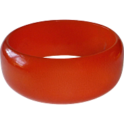 Chunky Bright Orange Bakelite Bangle Bracelet