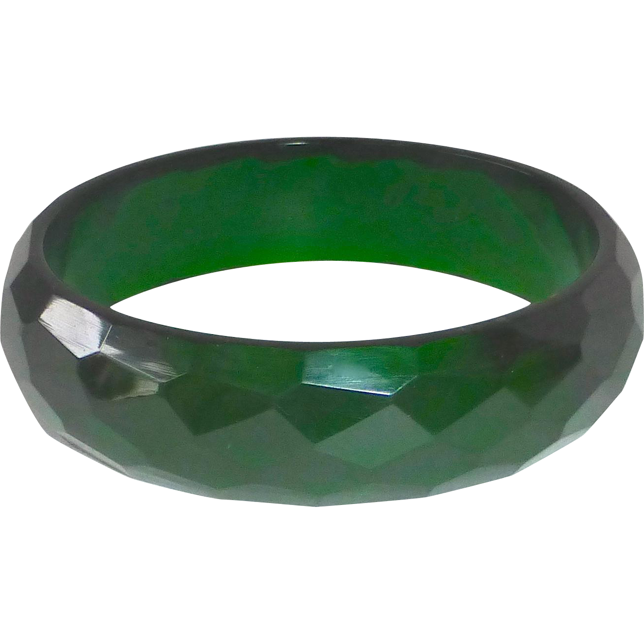 Bakelite Bracelet Faceted Green Prystal Bangle