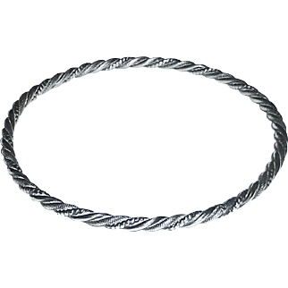 Sterling Silver Twisted & Textured Wire Bangle Bracelet