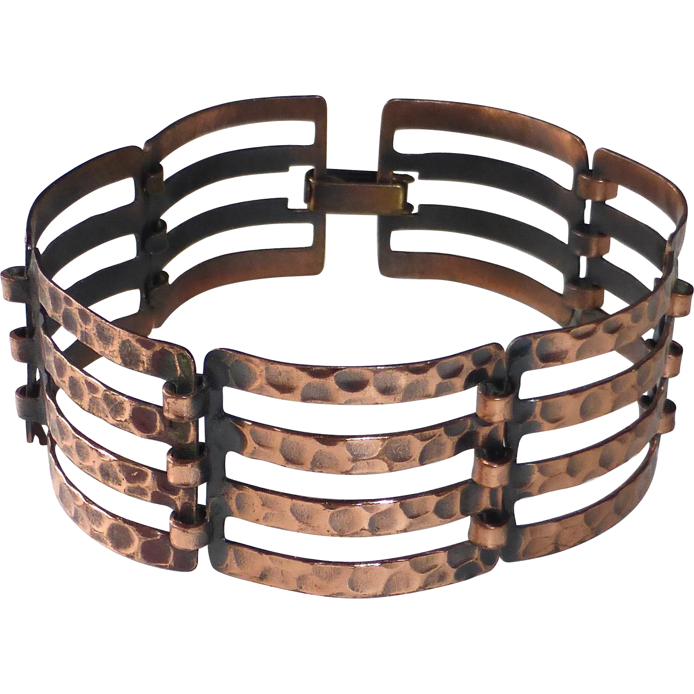 Hammered & Pierced Solid Copper Link Bracelet