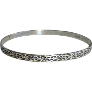 Danecraft Sterling Embossed Leaf Pattern Bangle Bracelet