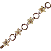 """Krementz 'Diana"""" 14k Rose & Yellow Gold Overlay Flower Link Bracelet"""