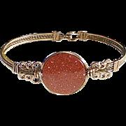 Vintage GF Goldstone Cabochon 1930s Carnival Bracelet