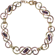 14k Rose & Green Gold Filled Retro Bracelet Amethyst Glass Cabs