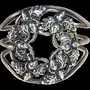 Danecraft Sterling Cuff Bracelet Acorns & Oak Leaves