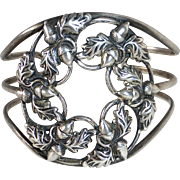 Danecraft Sterling Cuff Bracelet Acorns & Oak Leaves