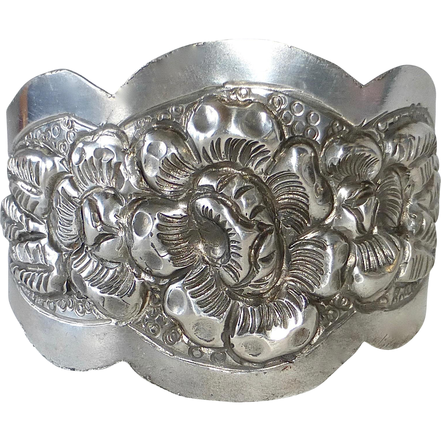 Rare Repousse Sterling Cuff Bracelet Made in Mexico for Germany