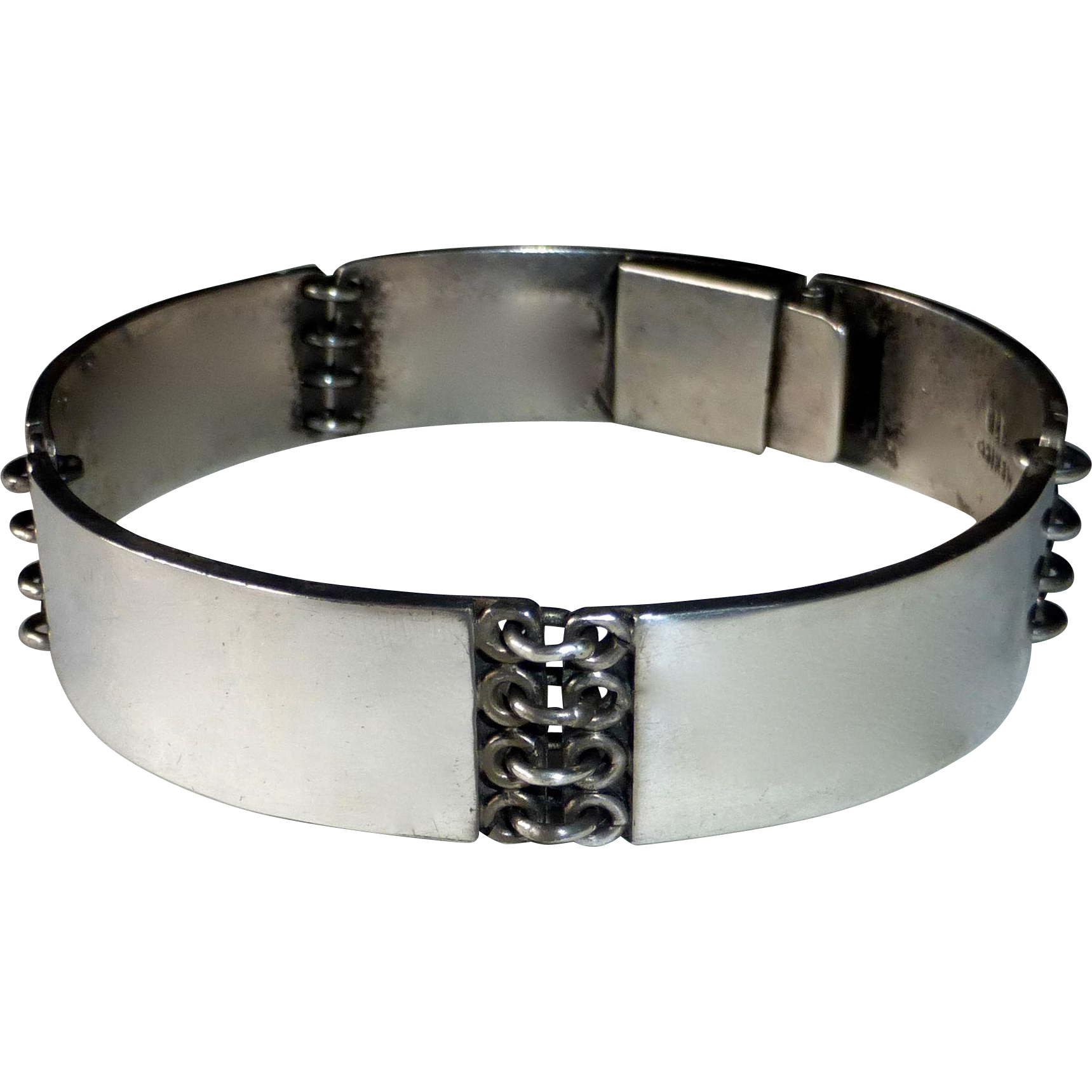 Mexican Sterling Heavy 5 Panel Bracelet