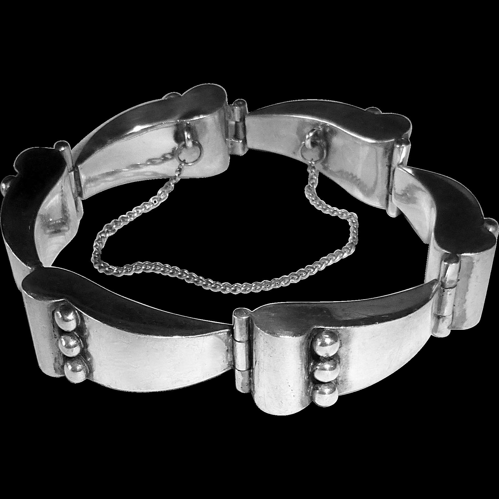 Mexican Designer Reveri Sculptural Sterling Bracelet c1950s
