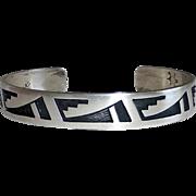 Native American Signed Hopi Sterling Applique Cuff Bracelet